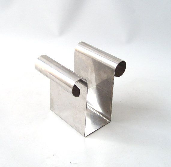 vintage stainless steel napkin holder by RecycleBuyVintage on Etsy