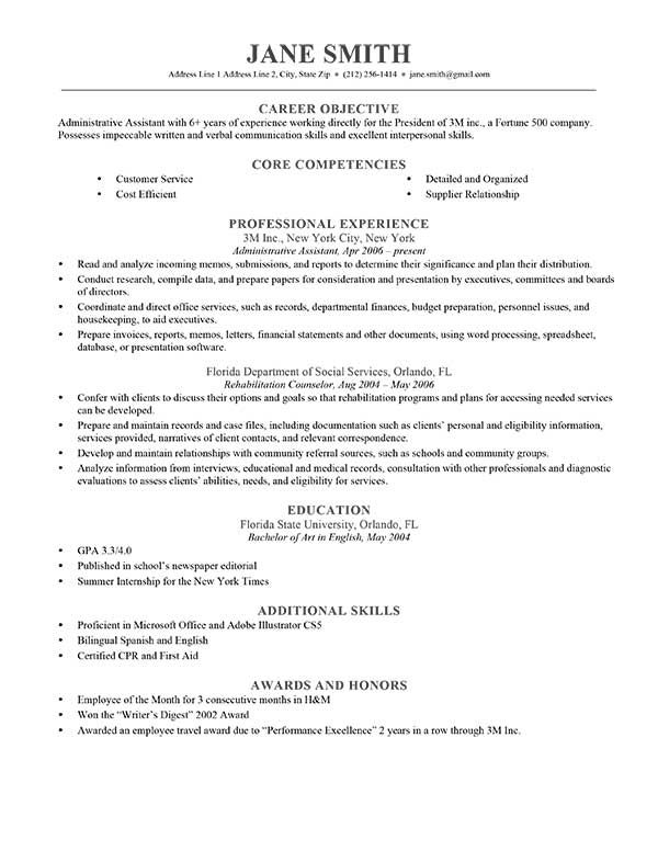 Cv Template Objective Resume Objective Examples Good Objective