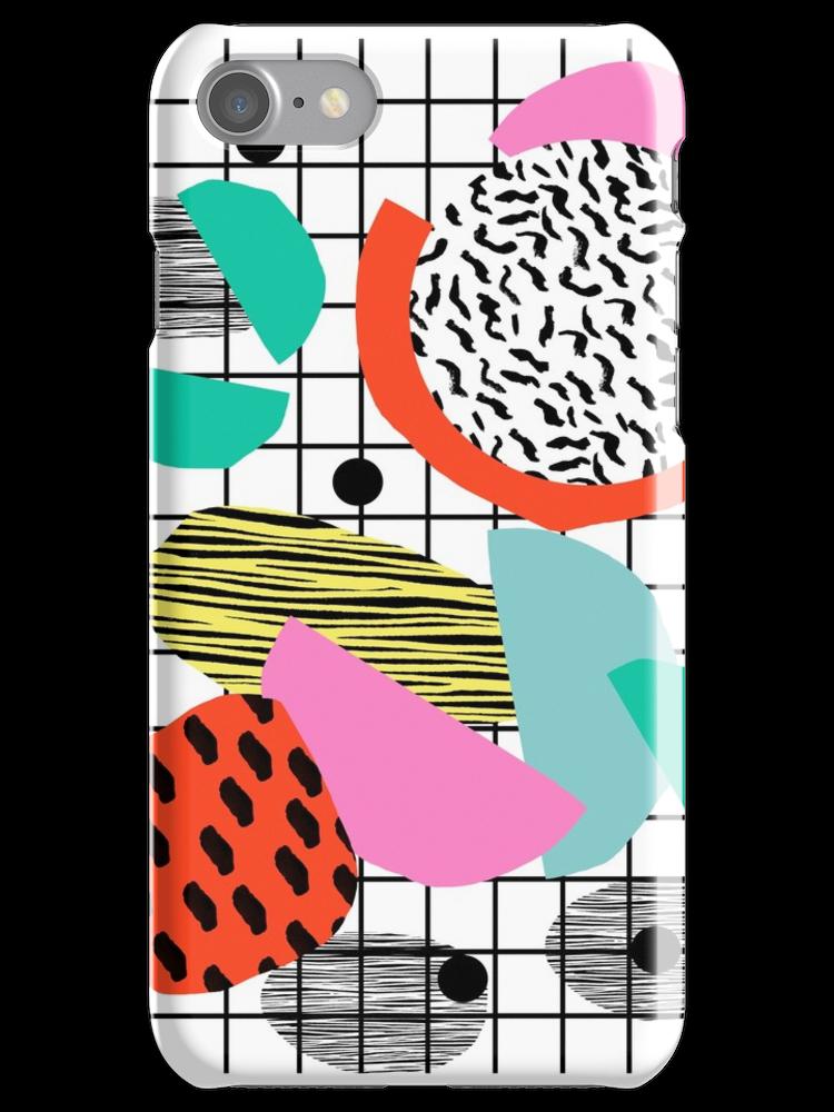 'Posse - 1980's style throwback retro neon grid pattern shapes 80's memphis design neon pop art' iPhone Case by wackadesigns