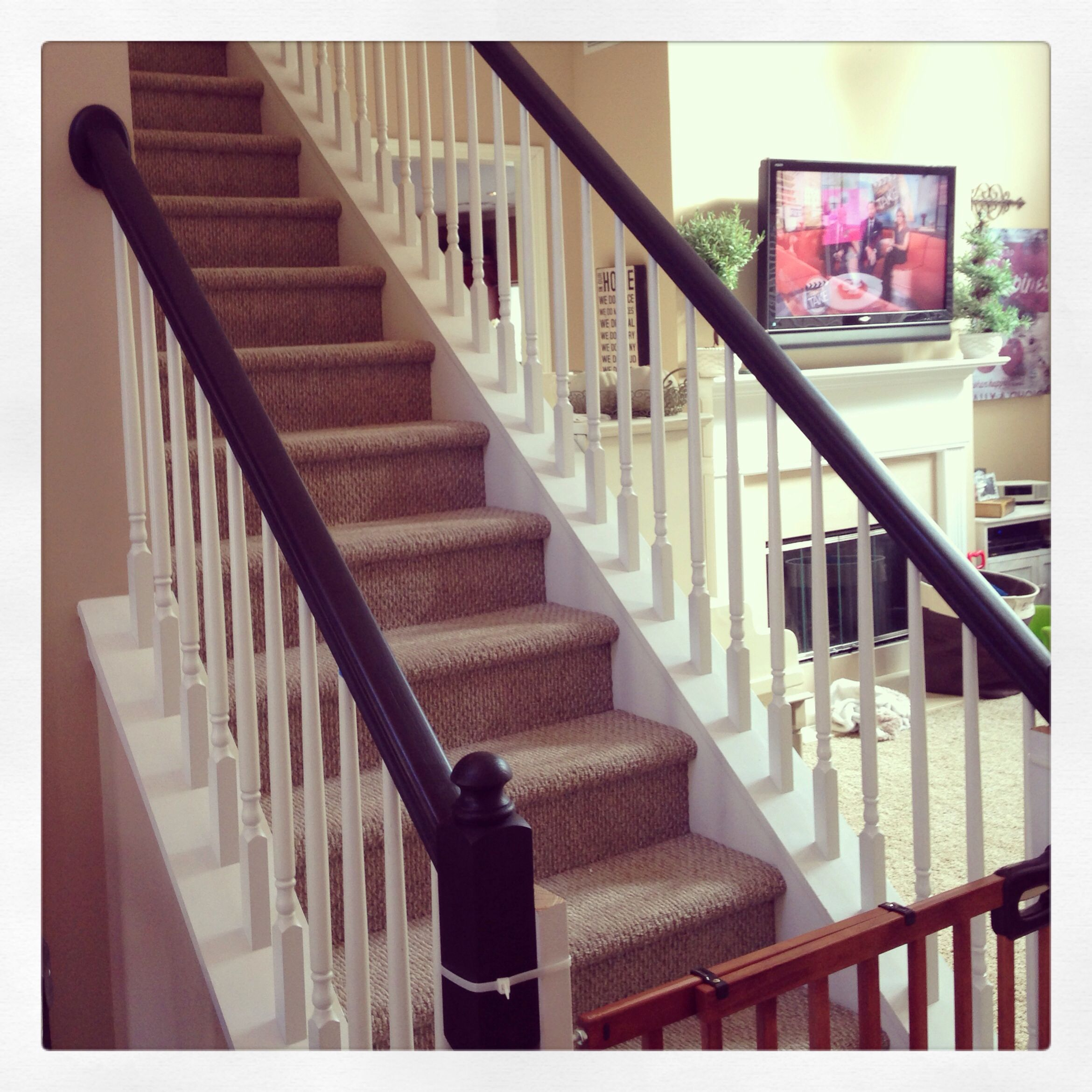 20 Attractive Painted Stairs Ideas: Painted Stair Rails! Annie Sloan Chalk Paint In Graphite