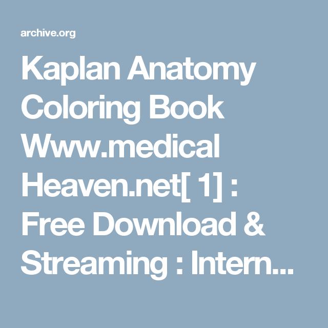 Kaplan Anatomy Coloring Book Wwwmedical Heaven 1 Free Download Streaming
