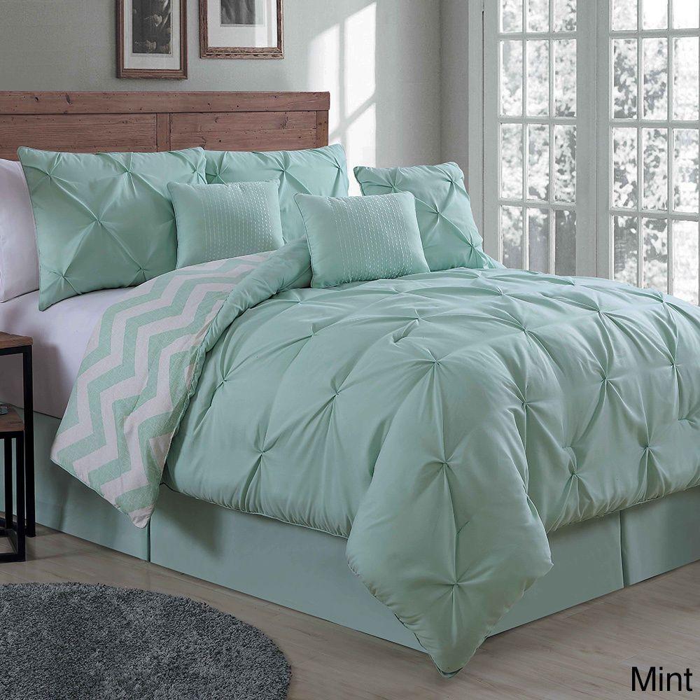 Beautiful Reversable Mint 7pc Modern Chevron Textured Comforter Set Queen King Quality Textured Comforter Sets Queen Comforter Sets Luxury Bedding