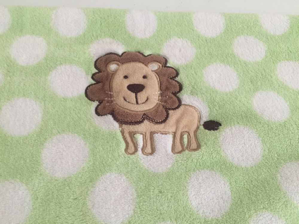 59b0d48be1 Carters Just One You Green White Polka Dot Spots Lion Fleece Baby Blanket  Tiger