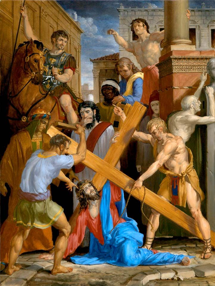 The Fourteen Stations Of The Cross painted by Leonard Porter. Station 7 - Where Christ falls down at the Gate of Judgement.
