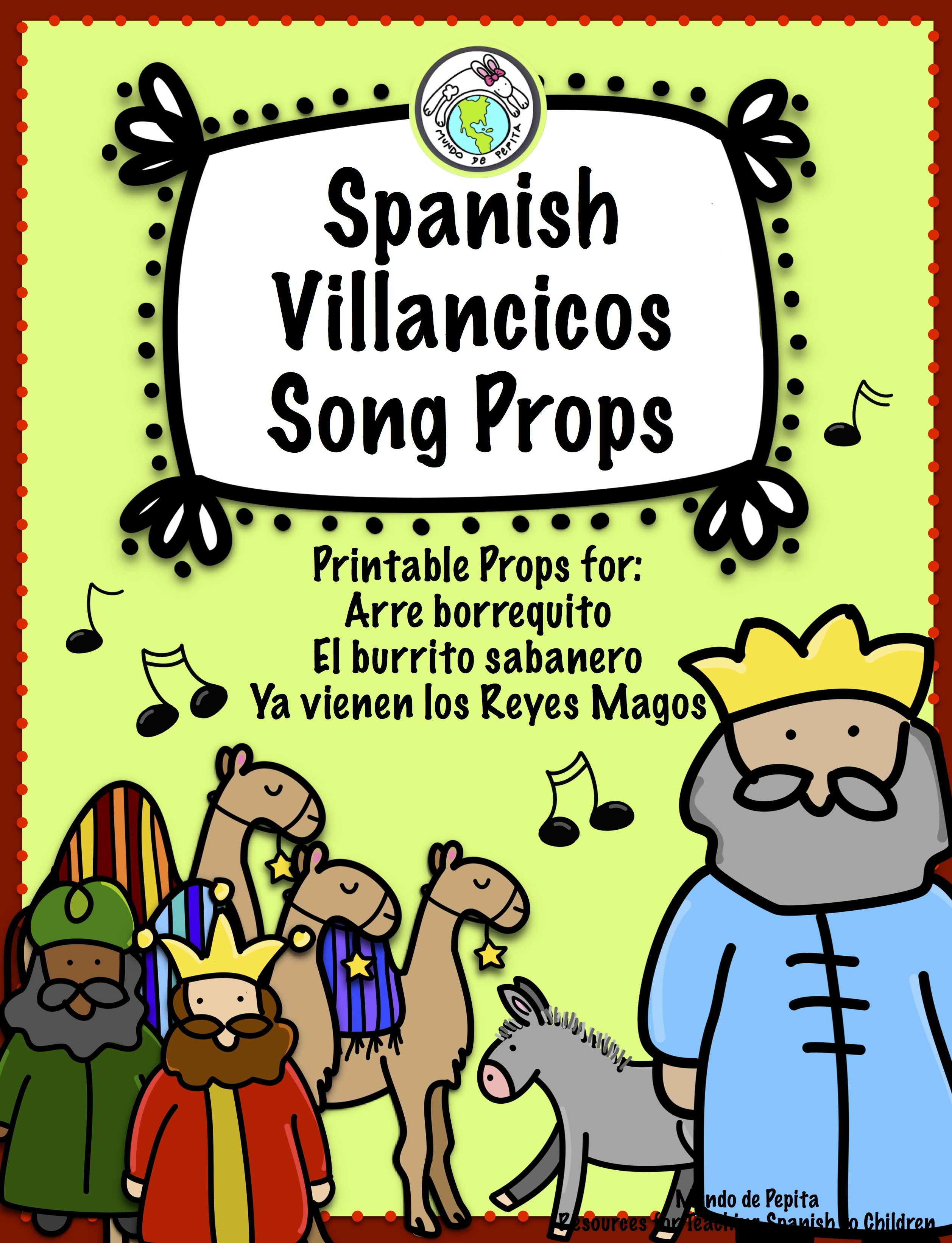 Spanish Christmas Villancicos Printable Song Props With