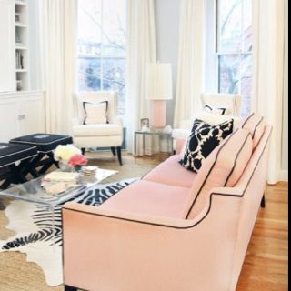Zebra rug, pink couch