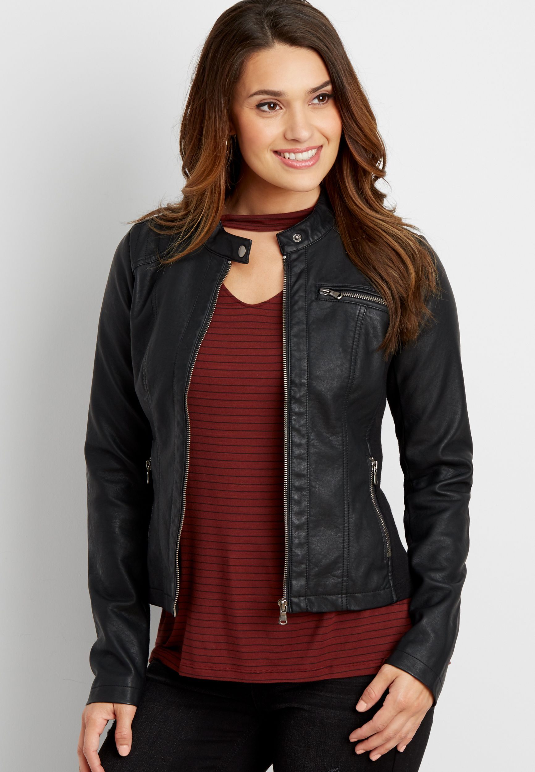 faux leather scuba jacket with ribbed knit detail