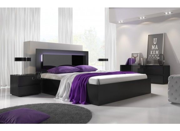 Bed daiya is een tweepersoonsbed vervaardigd uit hout in mat zwarte kleur als eyecatcher is het - Hoofdbord wit hout ...