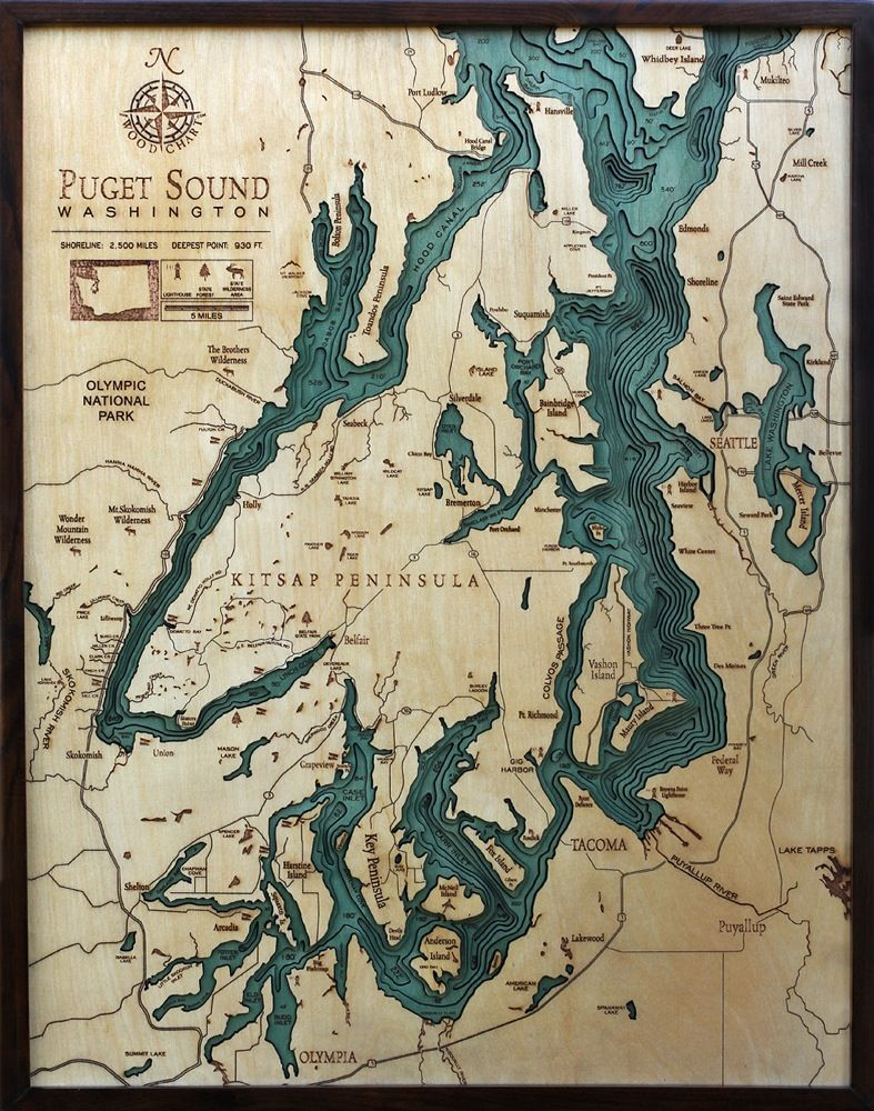 Houston Map Framed%0A Bathymetric Map of Puget Sound  Extremely accurate bathymetric map of Puget  Sound  Washington and