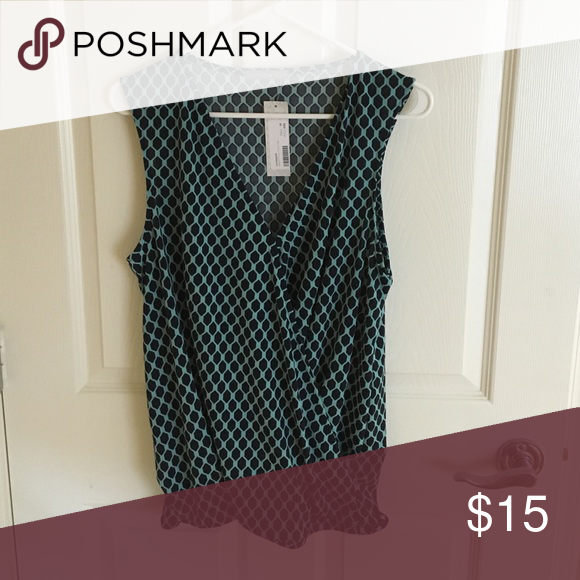 Tank top Hexagon pattern turqouise and navy tank top blouse. Super cute with a pair of skinnies and heels! Loveappella Tops Tank Tops
