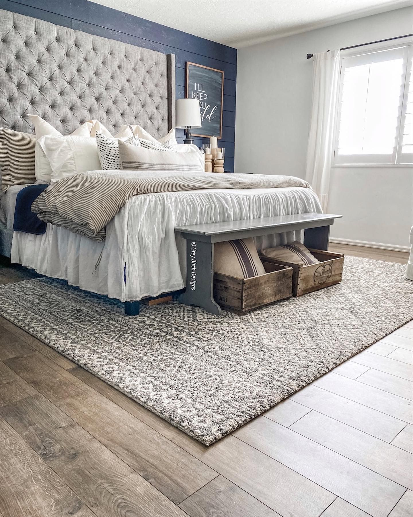 Master Bedroom Ideas In Neutral Whites And Grays Laminate Floors Newhouse Newhome Design Masterbedroom White Gray Interior Design Interior Home