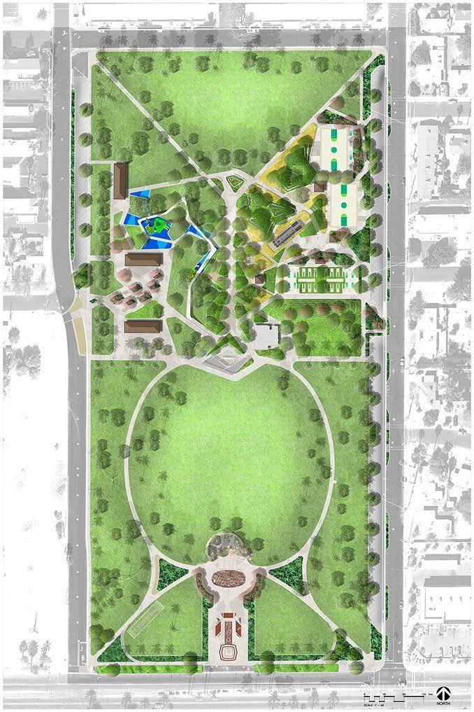Pioneer Park Mesa Arizona Dig Studio Landscapearchitecture Plan Concept Masterplan Parking Design Park Landscape Landscape