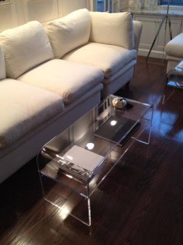 Gentil Acrylic Coffee Cocktail Table Lucite With SHELF For Magazines Etc  40x16x18x3/4