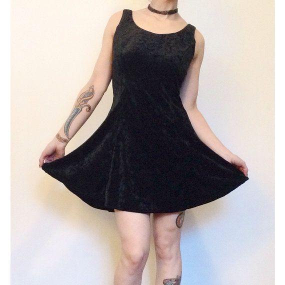 07af43298bed8f 90 s Black Velvet Mini Dress Small - Sleeveless Skater Dress with ...