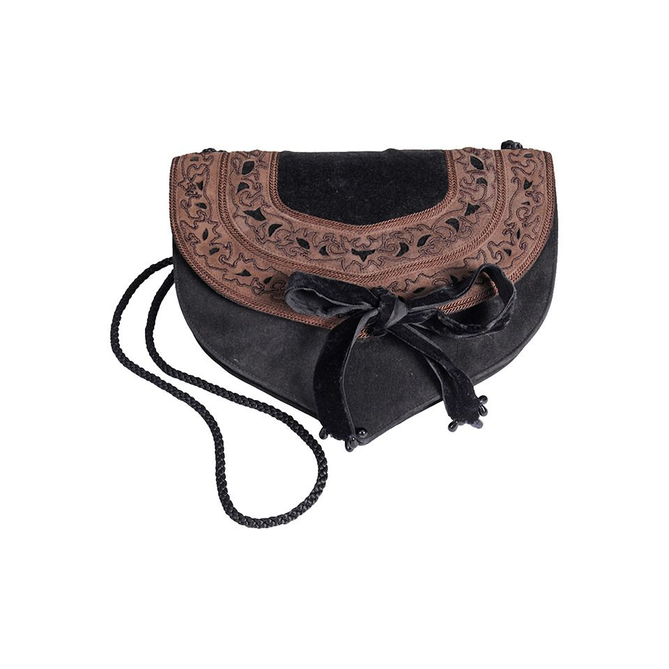 Emanuel Ungaro Embroidered Suede Evening Bag | From a collection of rare vintage evening bags and minaudières at https://www.1stdibs.com/fashion/handbags-purses-bags/evening-bags-minaudieres/