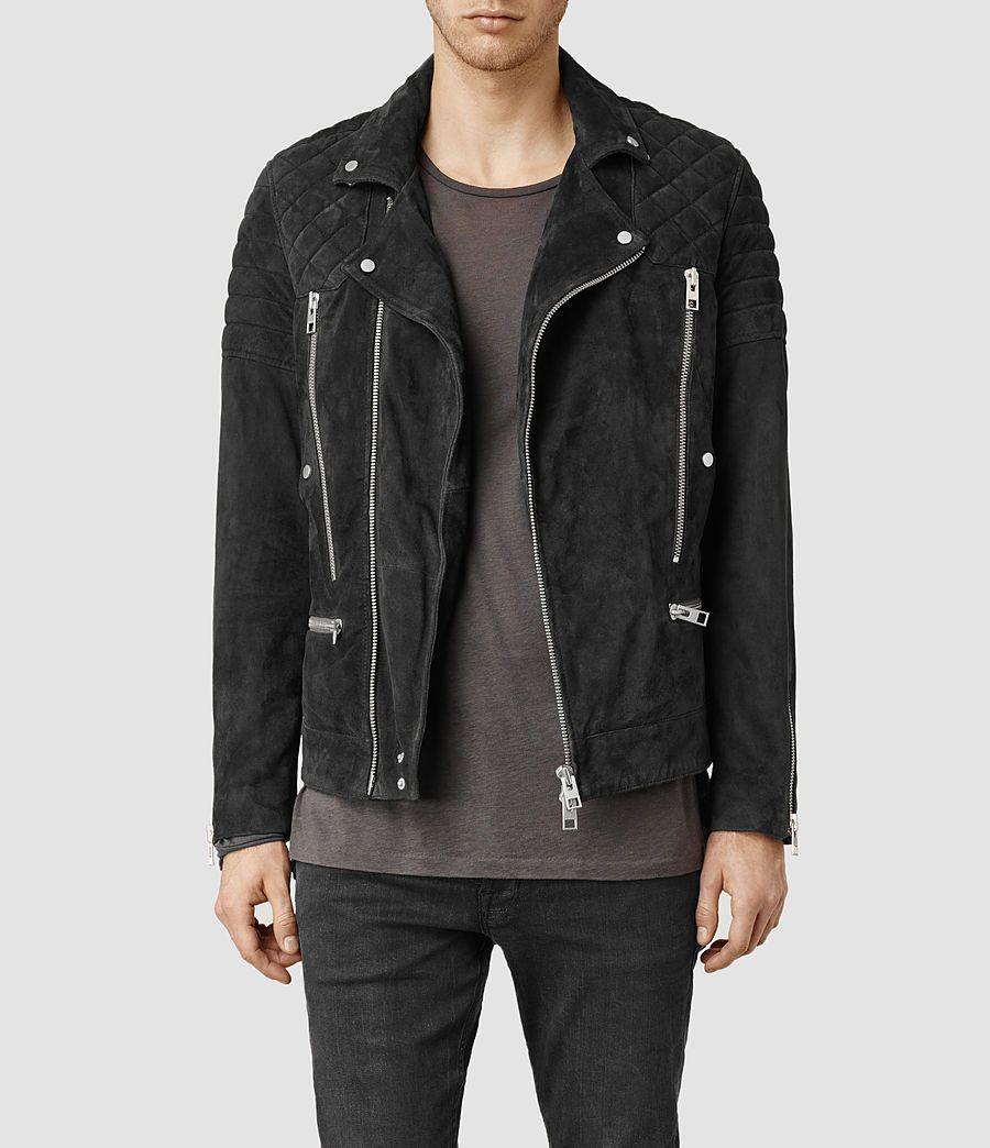 Mens Imara Suede Biker Jacket Washed Black Allsaints Com Suede Biker Jacket All Saints Leather Jacket Leather Outerwear [ 1044 x 900 Pixel ]
