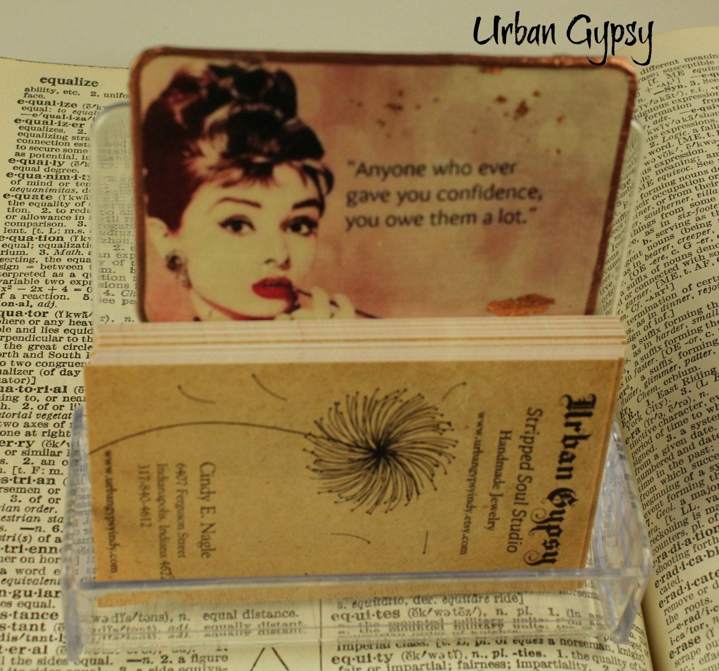 Audrey hepburn quote breakfast at tiffanys business card holder audrey hepburn quote breakfast at tiffanys business card holder desktop organizer by urbangypsyindy on etsy reheart Gallery