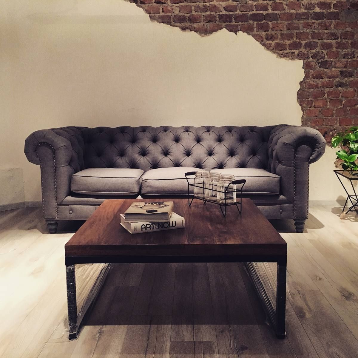 Sof Chesterfield Capiton Sala Sill N Mueble Madera Vintage  # Muebles Lourdes