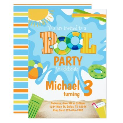 Summer pool party invitation invite blue boy birthday cards summer pool party invitation invite blue boy birthday cards invitations party diy personalize customize celebration bookmarktalkfo Image collections