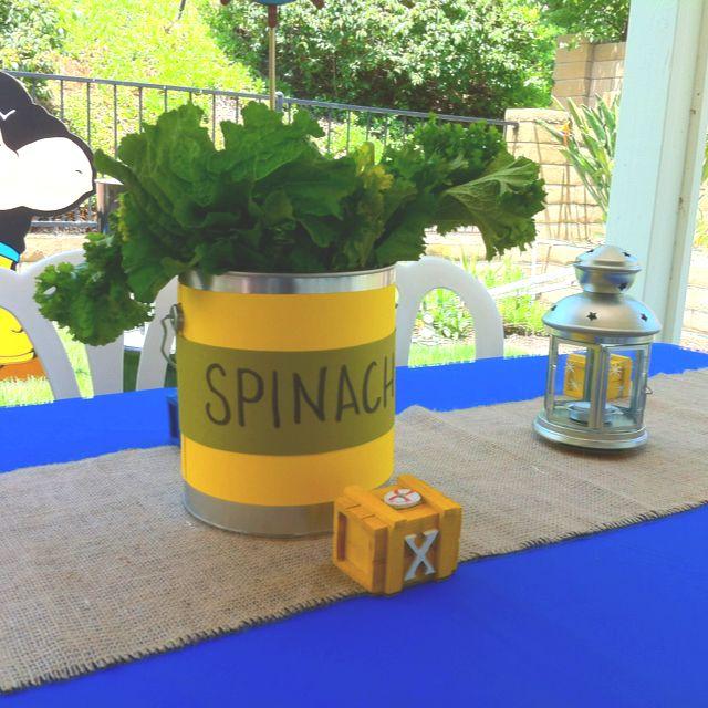 Spinach Centerpieces...It's A Boy!!! Popeye Baby Shower