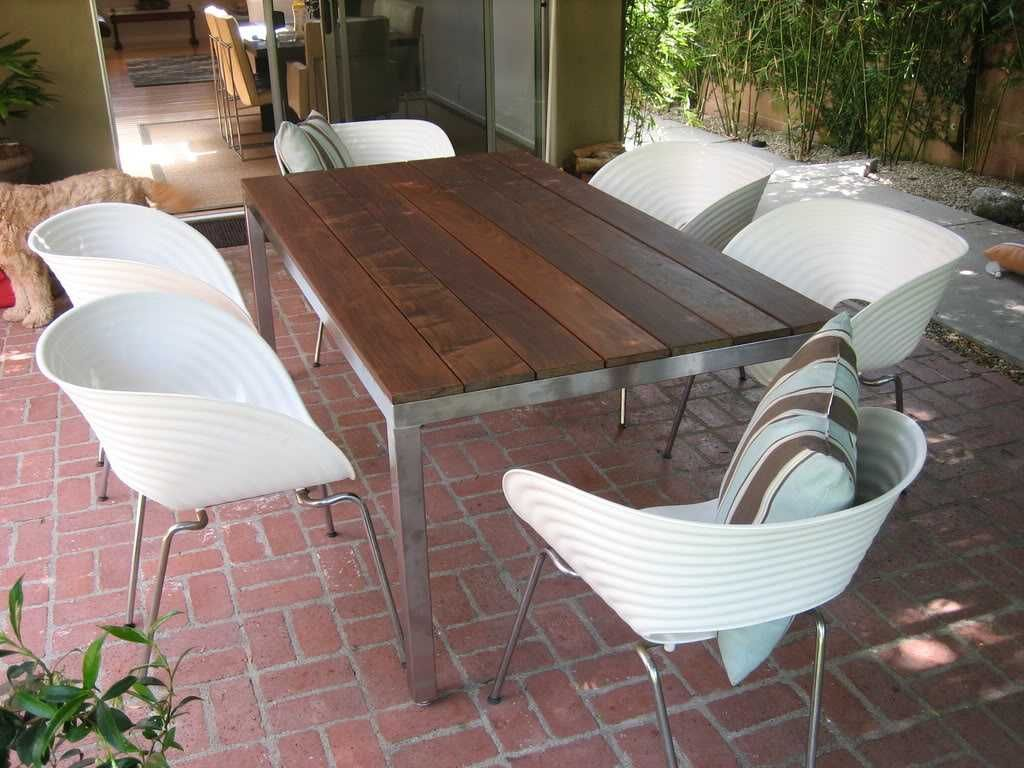 Pacific Palisades, CA Custom Made Stainless Steel Outdoor Table With Ipe  Wood Top. Size
