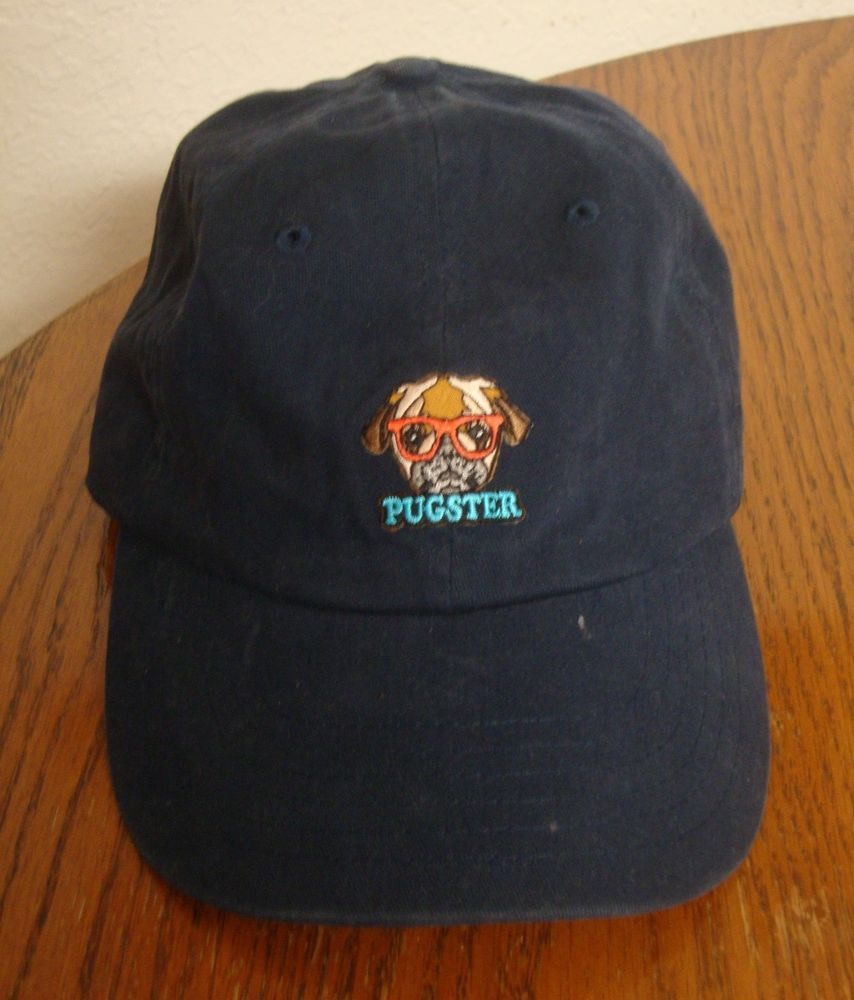 3d9ebf2daf2d2 Pugster Trucker Cap PUG DOG wearing SUNGLASSES Blue Baseball Hat Jewelry  CUTE!  Pugster  Trucker