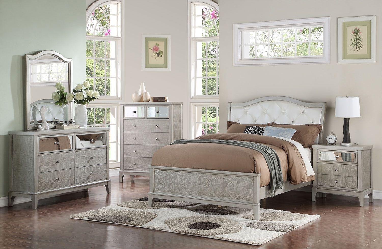 bedroom furniture - glam 8-piece full sleigh bedroom package