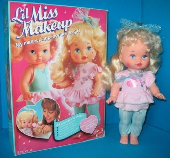 Mattel Lil Miss Makeup! My favorite babydoll! You could make her makeup appear or disappear with hot or cold water. Plus she had an awesome heart on her cheek!