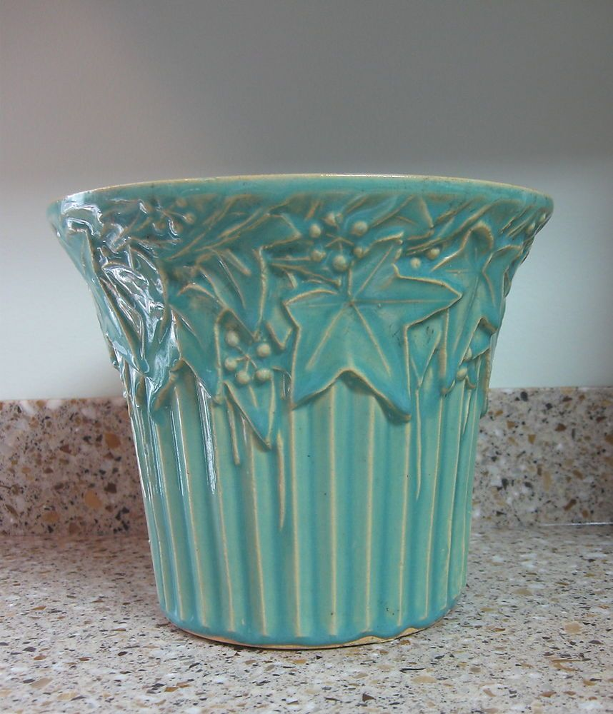 Large mccoy vintage pottery planter flower pot turquiose blue ivy large mccoy vintage pottery planter flower pot turquiose blue ivy berry reviewsmspy