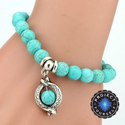 Turquoise Charm Bracelet + Pendant