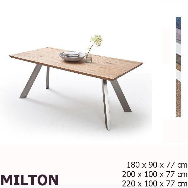 MILTON Tölgy-Nikkel Acélvázas Étkezőasztal