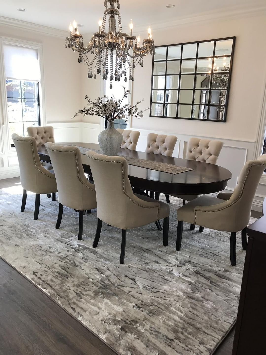 Our Beautiful Ripplewater Bound Carpet In Color Ecru Installed In This Stunning Dining Room Visit Us Elegant Dining Room Luxury Dining Room Dinning Room Decor