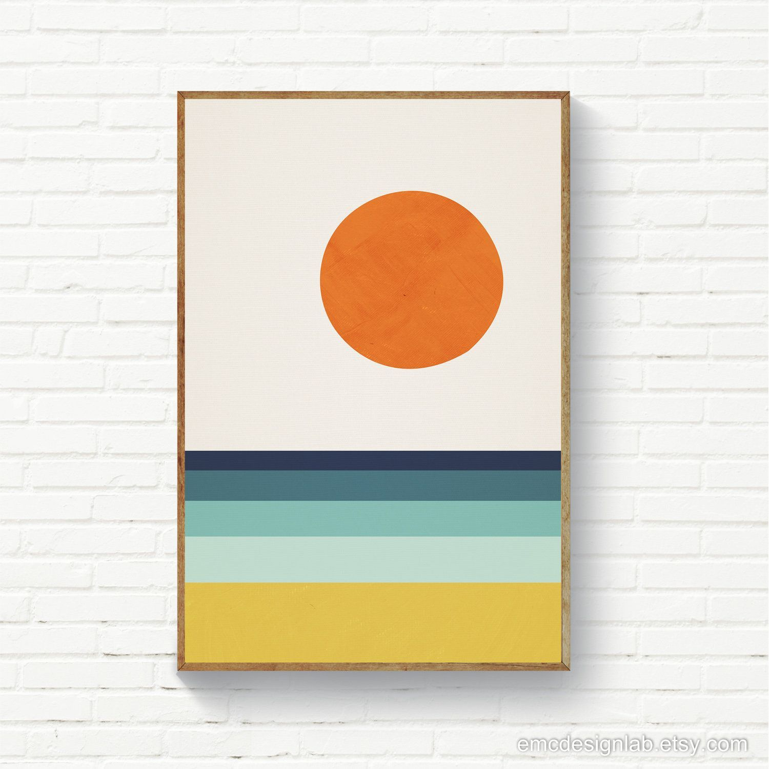 Photo of Geometric Abstract Landscape, Beach Sea Sun Abstract MidCentury Modern Wall Art,…