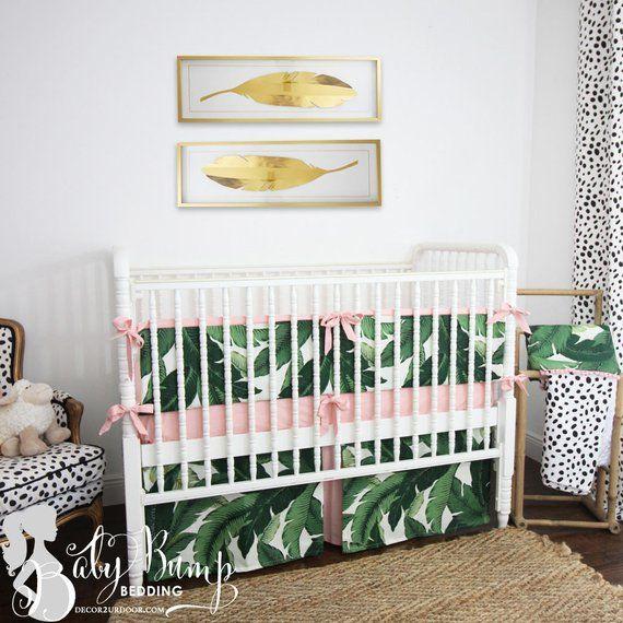 Palm Leaf Print Blush Pink Baby Crib Skirt Tropical Sheet Nursery B