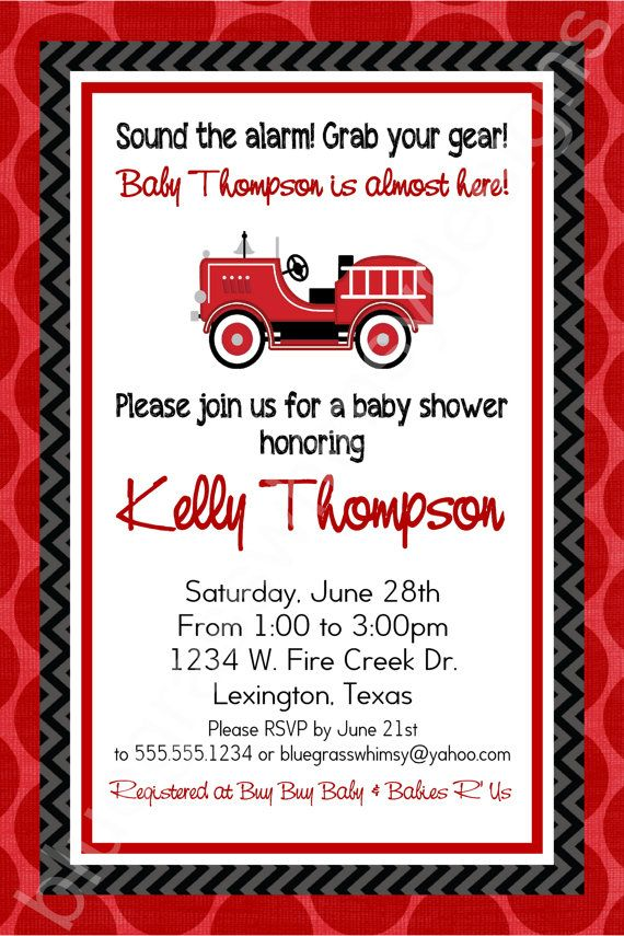 Firetruck Baby Shower Invitation for a Baby Boy- red, black & Gray ...