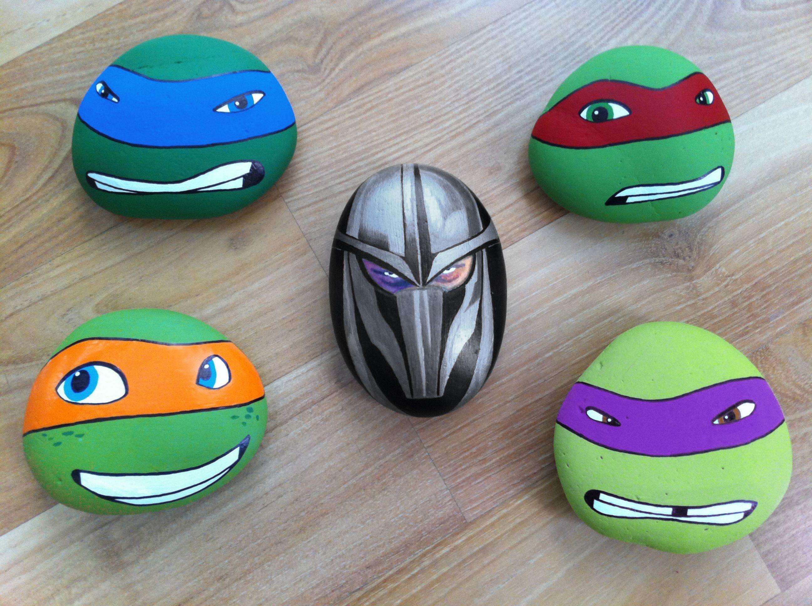 Hand Painted Rocks Of Ninja Turtles And Shredder Painted Rocks Kids Rock Painting Patterns Turtle Painted Rocks