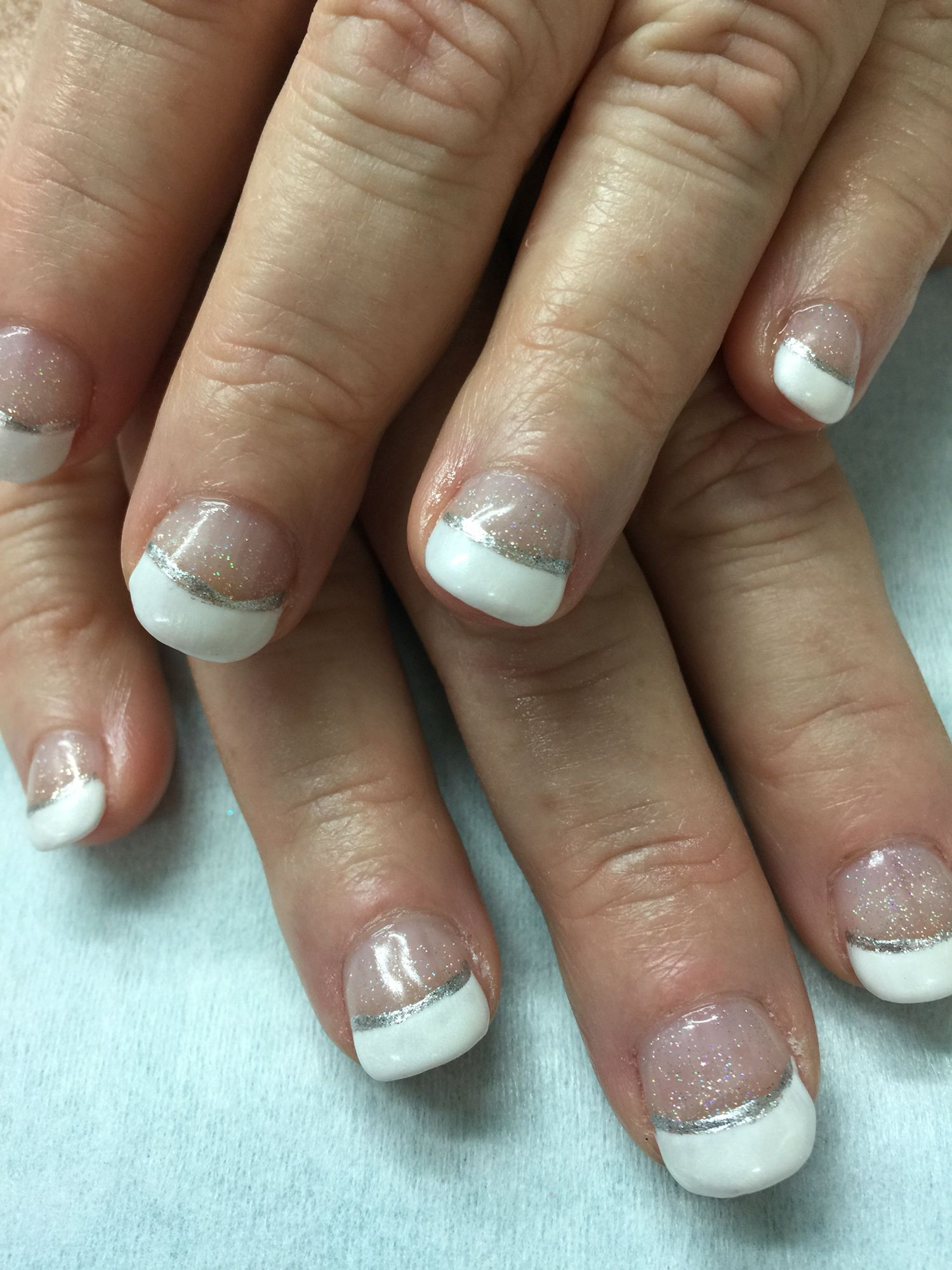 Short Nails, Sparkled & Pearlized White French Gel polish over non ...