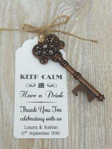 Personalised Skeleton Key Bottle Beer Opener Wedding Favor Gift Tag Label Wedding Favor Gift Tags Wedding Gift Favors Beer Opener Wedding Favor