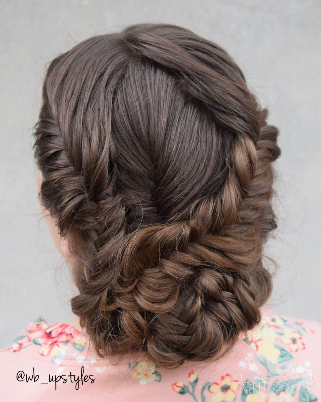 Whitney Carson Wedding Hair Style: Fishtail Braided Updo. Wedding Hair By Whitney At Luxe