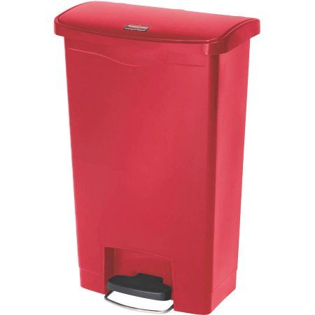 Rubbermaid Commercial Front Step Style 13 Gal. Slim Jim Resin Red Step-On Container, Multicolor
