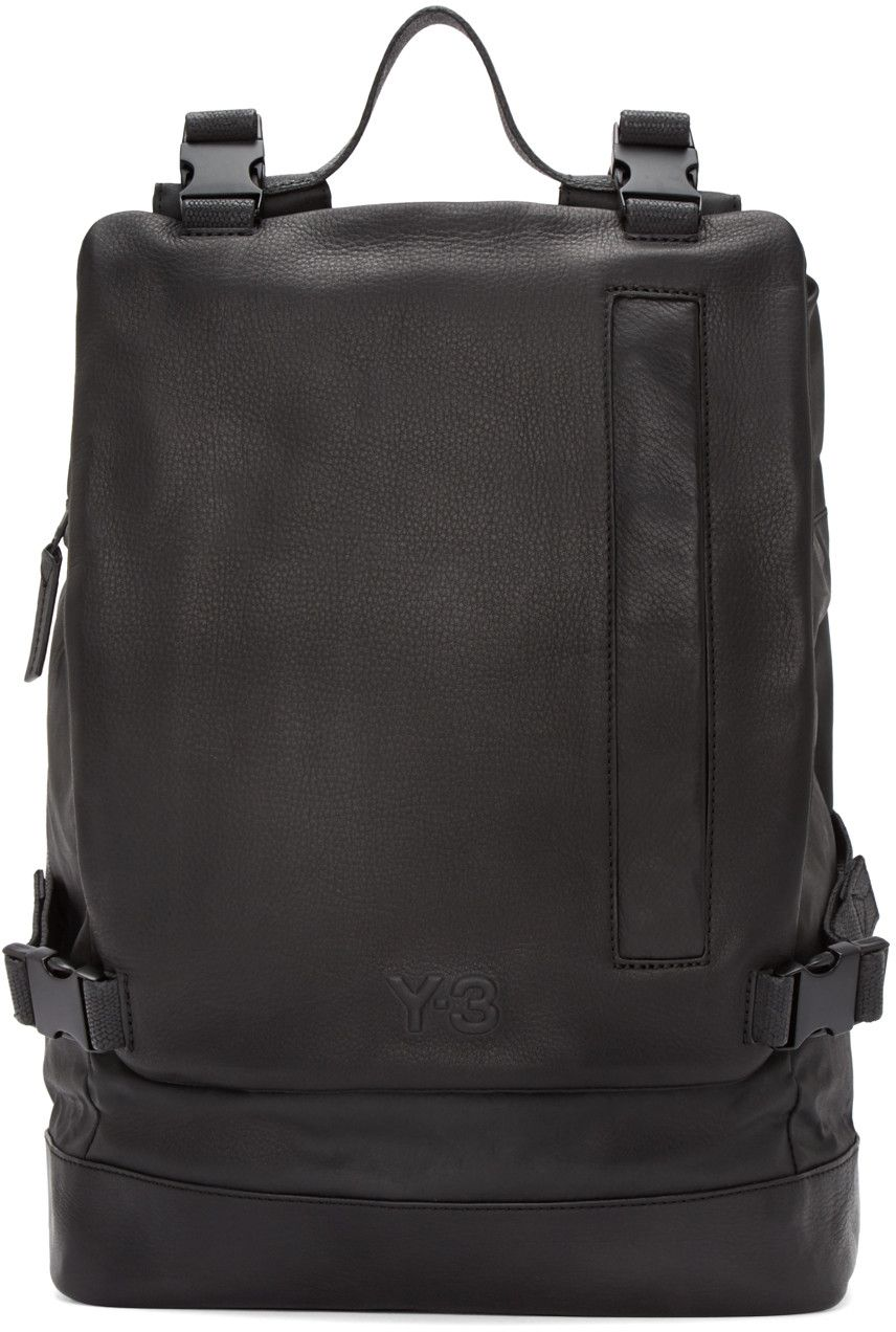 60b3a177ecc Y-3 Black Leather Toile Backpack   bags   Pinterest   Bags ...