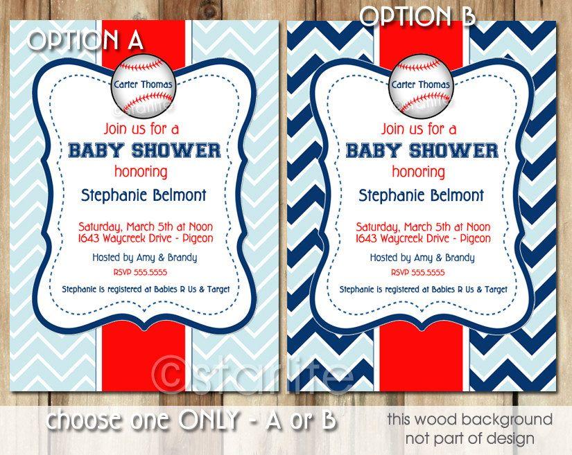 Baseball Blue - Baby Shower invitation - Baby Boy Shower - Sports ...