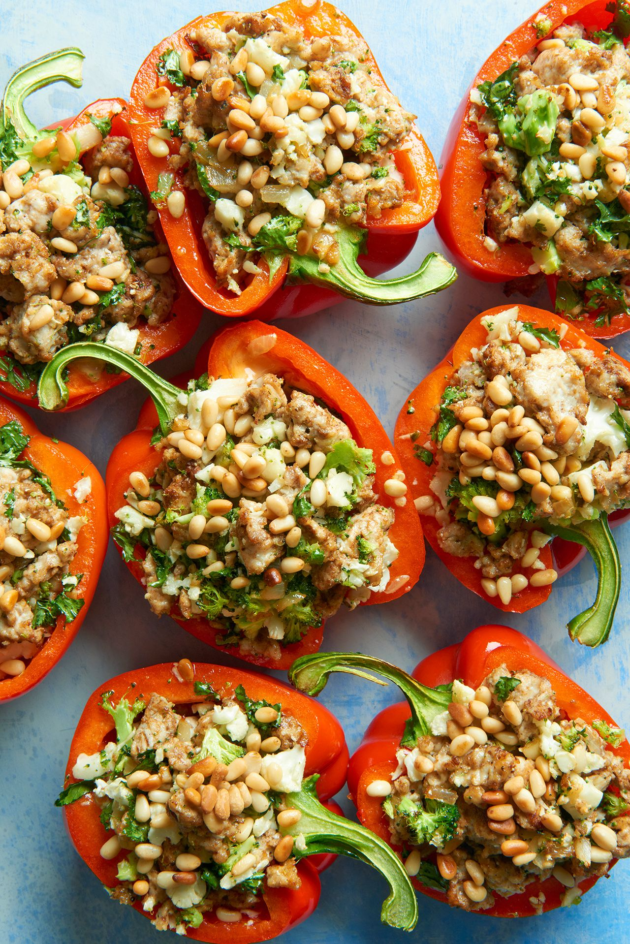 Paleo Broccoli Rice Stuffed Peppers Recipe Stuffed Peppers Light Dinner Recipes Healthy Dinner Recipes Chicken
