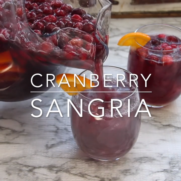 Looking for a great holiday adult beverage? Serve this cranberry sangria to your guests and they will be asking for the recipe and for seconds! #amandascookin #cocktails #sangria #cranberry #orangejuice #christmasrecipes #christmascocktails #thanksgivingcocktails #thanksgivingdrinks