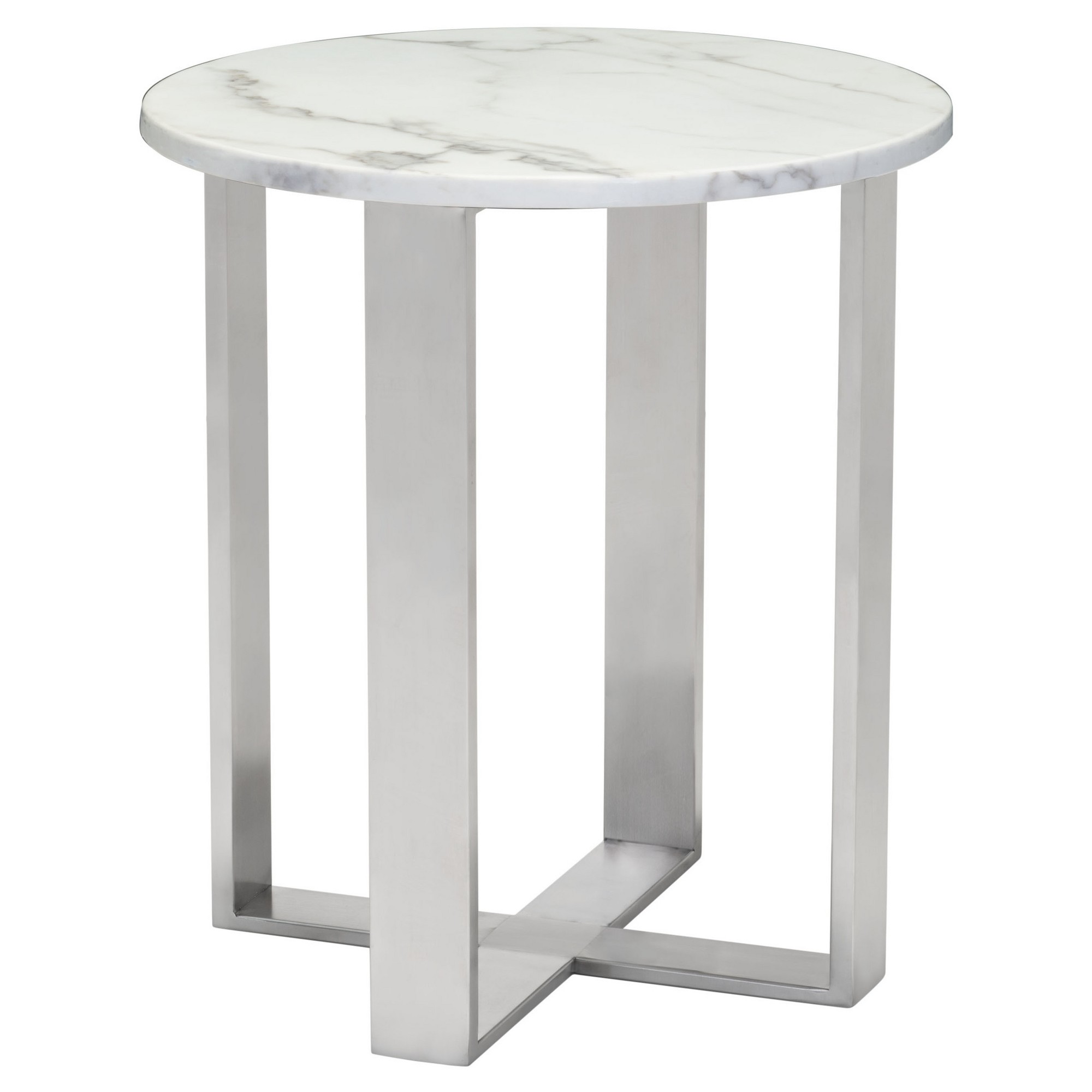 modern round faux marble side table stone grey brushed