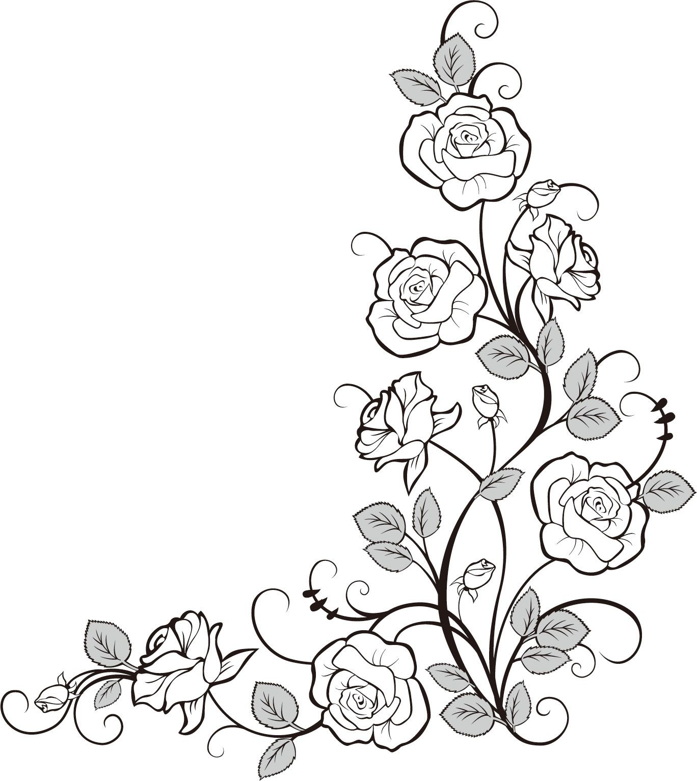 画像サンプル バラの装飾素材・コーナー用 Patterns Motifs Ornaments 1