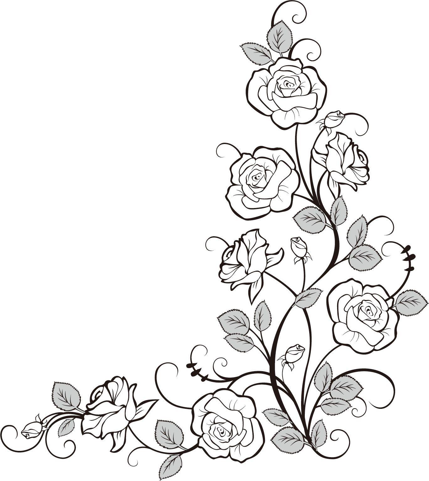 Flower border | plant Embroidery Designs | Pinterest | Flower ...