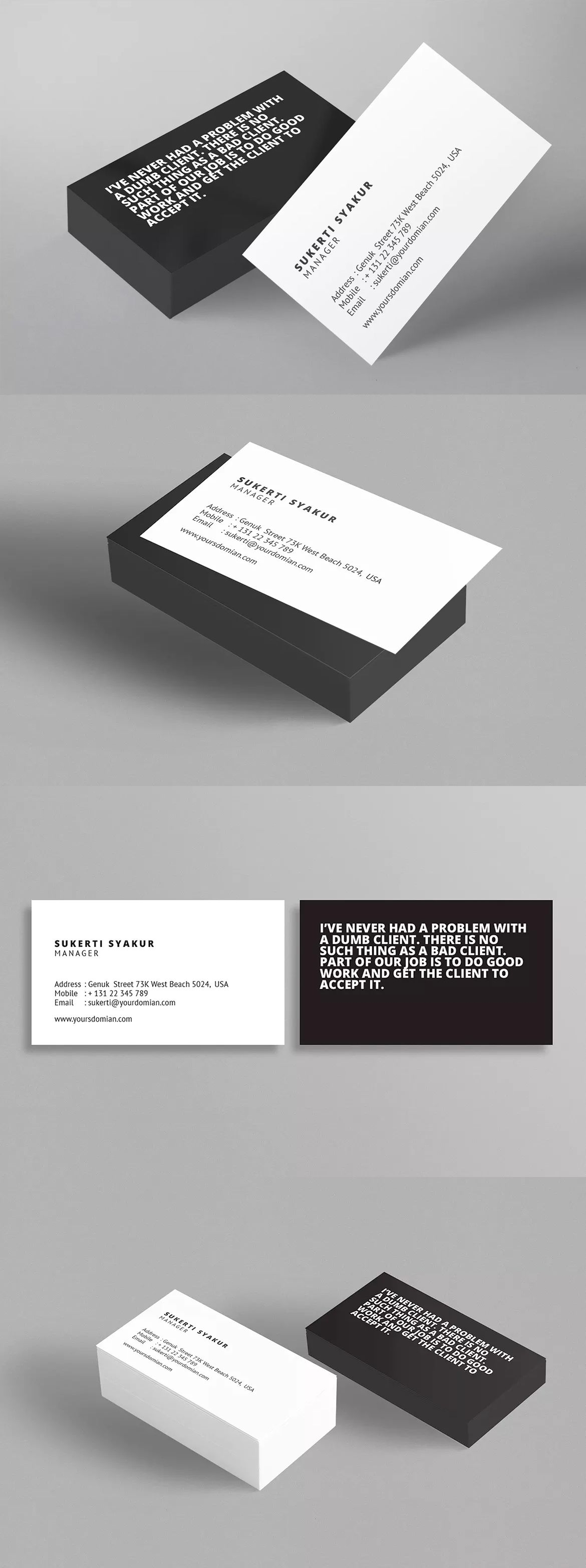 Horizontal Business Card Template InDesign INDD