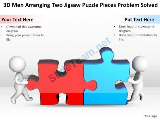 3d men arranging two jigsaw puzzle pieces problem solved ppt, Modern powerpoint