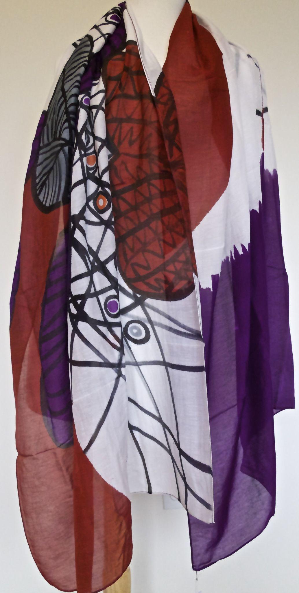 Purple Webwork Silk & Cotton Scarf